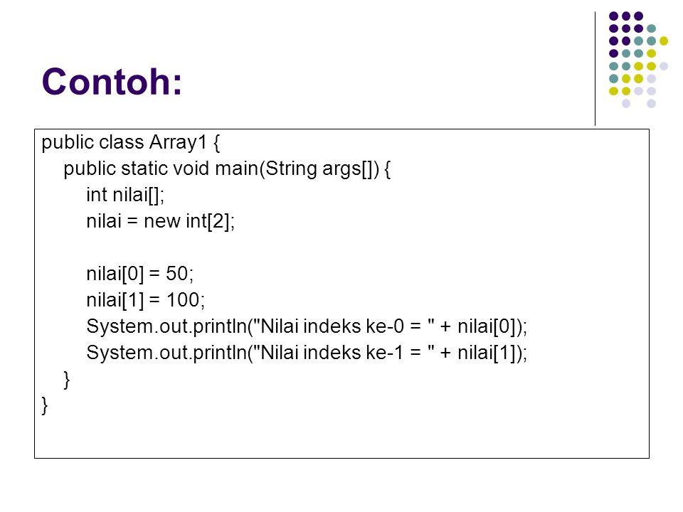 Contoh: public class Array1 { public static void main(String args[]) {